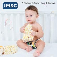 JMSC Ergonômico Underwear Reutilizáveis Lavável Bebê Fralda De Pano De Algodão Respirável Calças de Treinamento Potty Fralda Recém-nascidos 5 Pçs/set Capa
