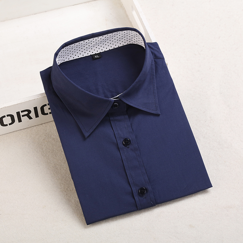 Dioufond, Хлопковая женская рубашка, блуза с длинным рукавом, красный горошек, Blusas Femininas, 5XL размера плюс, отложной воротник, женские модные топы - Цвет: Pnavy