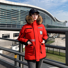 Hooded Parka Coat Short Winter Jacket Letter Faux-Rur-Collar Warm Fashion Women New Thick