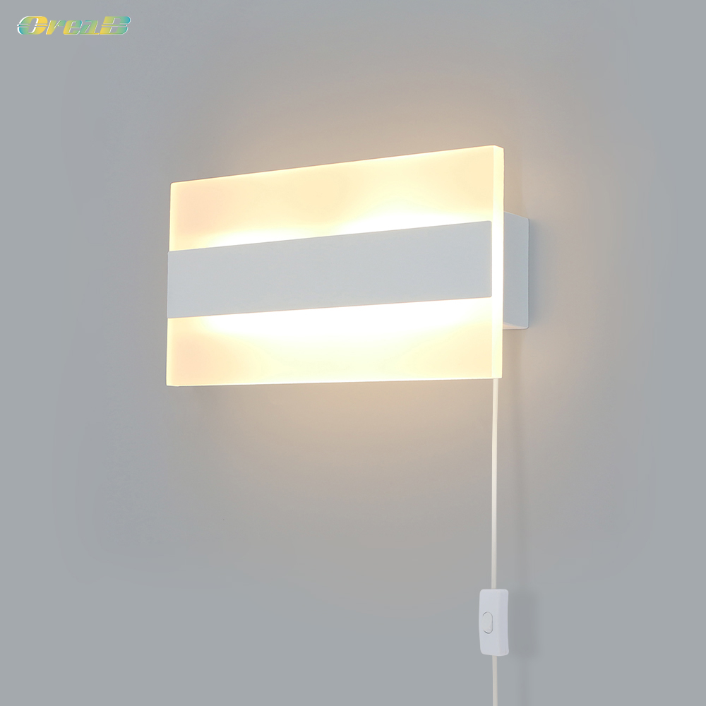 5w quadrado interruptor de luz parede lampadas parede cabeceira interior branco contemporaneo plug in arandela luminaria