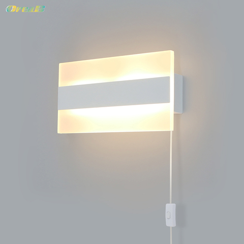 5w quadrado interruptor de luz parede lampadas parede cabeceira interior branco contemporaneo plug in arandela