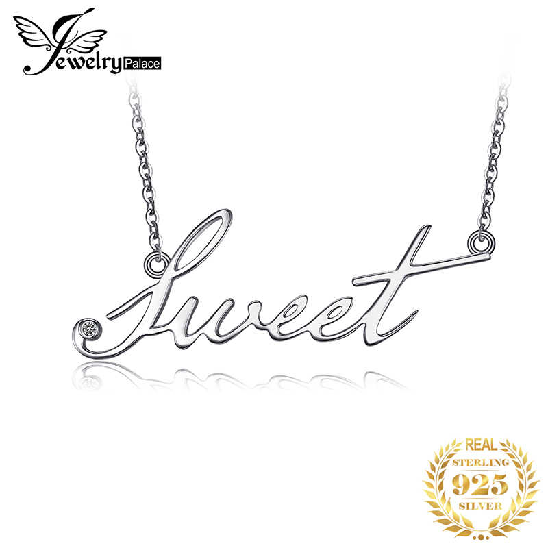 JewelryPalace Alphabet Words Sweet Goodluck Necklace With 18 Inches Chain Cubic Zirconia 925 Sterling Fine Jewelry For Women