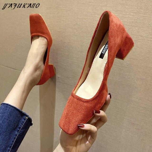 Туфли женские на среднем каблуке простые удобные замшевые туфли-лодочки 1