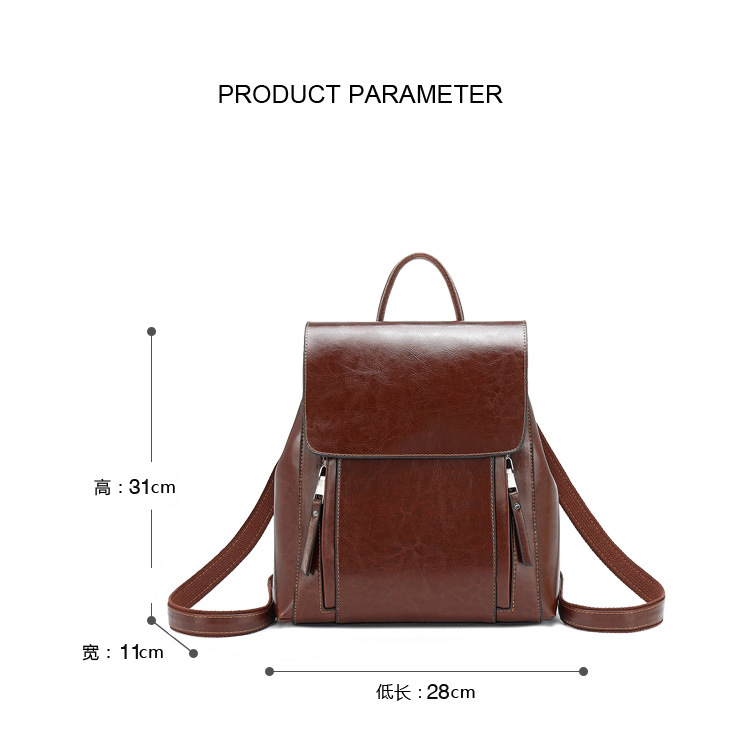 Women Oil Wax Cowhide Backpacks Vintage Female Shoulder Bag School Bags Genuine Leather Knapsack Girls Casual Daypack Rucksack