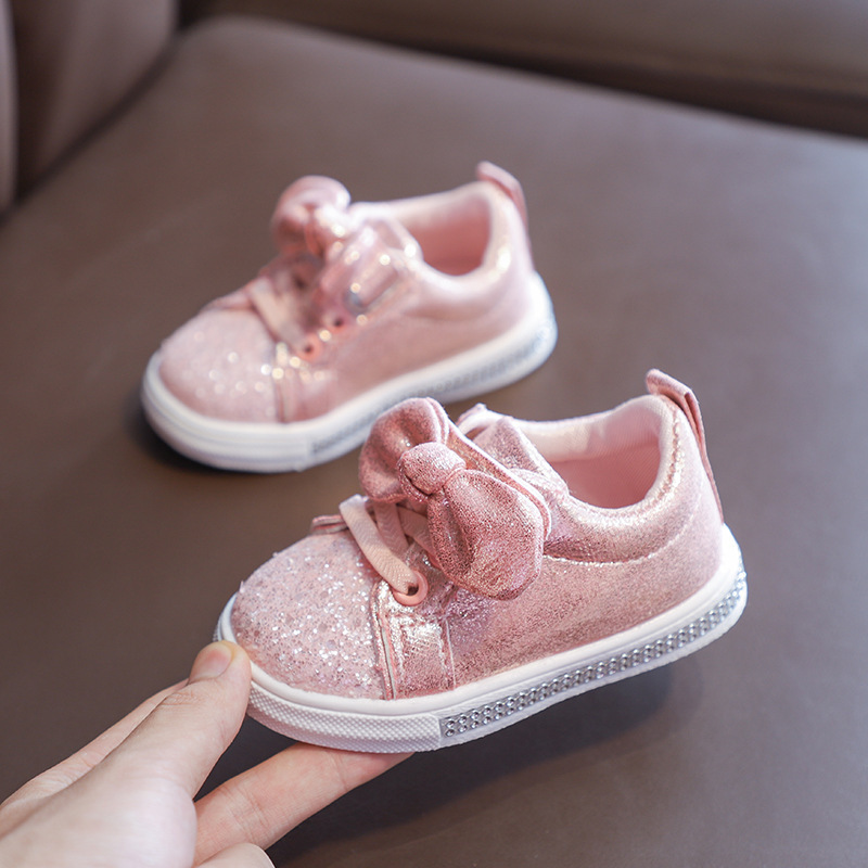 2019 New Fashion Sequin Bow Girls Shoes Sneakers Toddler Little Kid Casual Trainers Children Non-Slip Shoes 1 2 3 4 5 6 Year Old