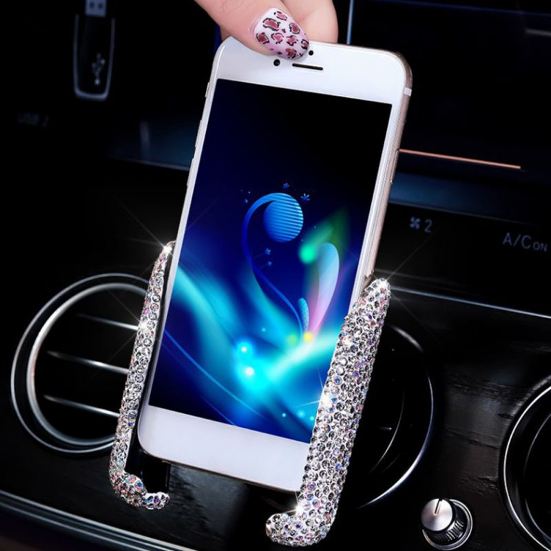 Bling Rhinestones Car USB Fast Charger Cigarette Lighter Diamond Crystal GPS Car Phone Holder Vent Mount Navigation Bracket