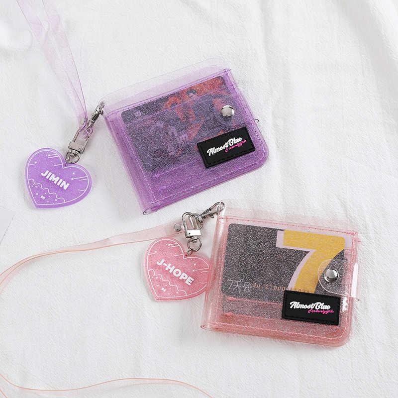 Bentoy Glitter Transparan Dompet Fashion ID Pemegang Kartu Dompet Foto Folder Mini Laser Dompet Wanita Clutch Dompet Menggantung Leher