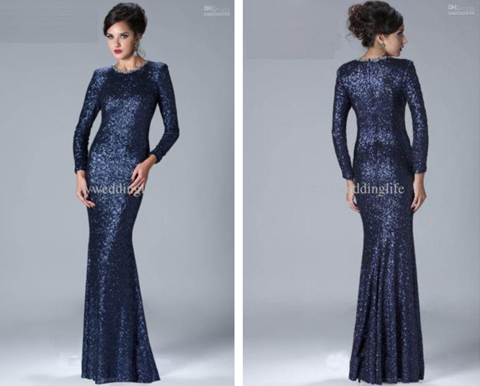Long Sleeves Sequined Beading 2015 New Hot Sexy Long Mermaid Mother Of The Bride Dresses Free Shipping Vestido De Madrinha