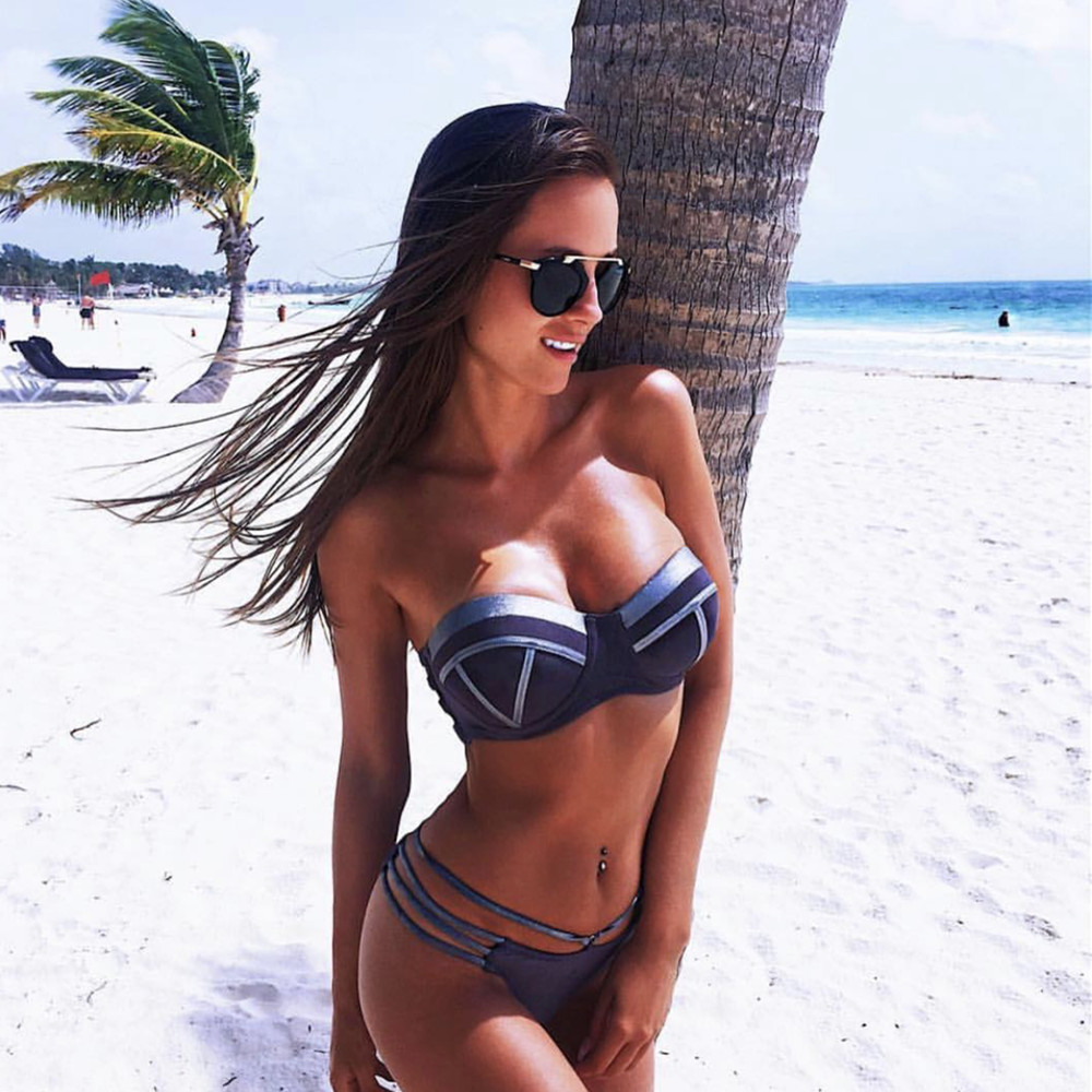 Black Bandage Swimsuit 2019 Sexy Brazilian Bikini Push Up Swimwear Women Micro Bikinis Plus Size Beachwear Shiny Gold Beachwear
