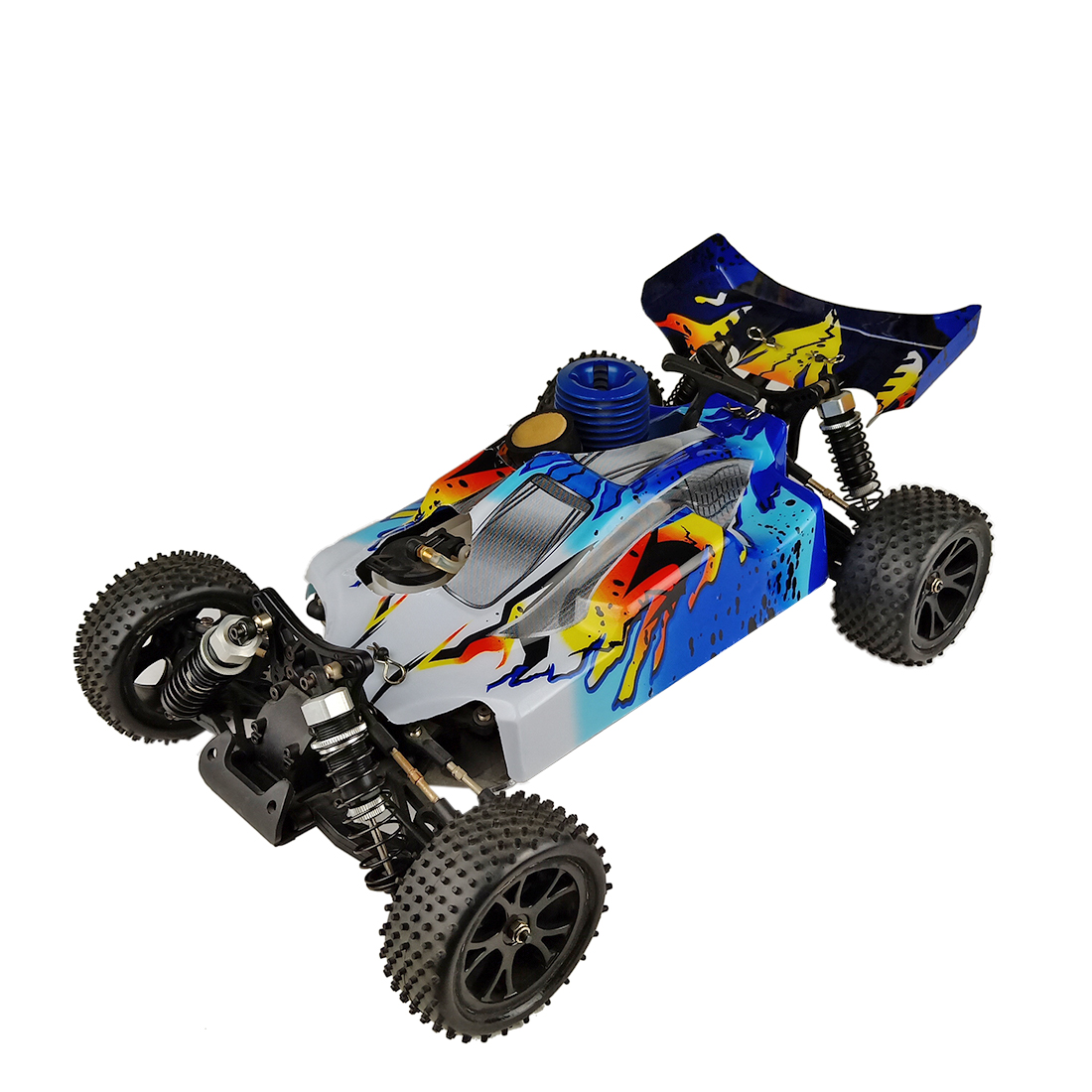 VRX RH1006 <font><b>1/10</b></font> <font><b>Scale</b></font> 4WD Nitro RTR Off-road Buggy High Speed 2.4GHz <font><b>RC</b></font> Car(With Force.18 Methanol Engine) - R0070BL Blue White image