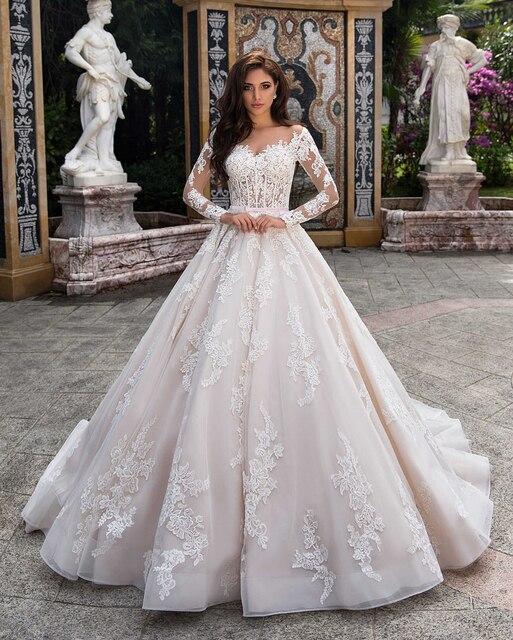 Elegant Ball Gown Wedding Dress 2021 Lace Princess Satin Belt Beading Appliques Bridal Muslim Bride Gowns Vestido De Noiva 2