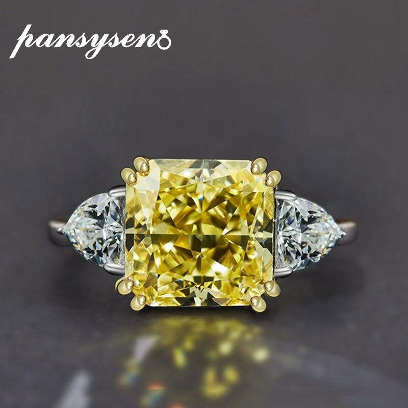 PANSYSEN pur 925 en argent sterling de luxe bague d'anniversaire de mariage avec 10MM créé moissanite pierre femme bijoux fins cadeau - 3