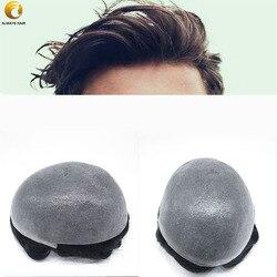 Natürliche Haaransatz 0,08-0,1mm Polyskin Dünne Haut Toupet 6 Freies Stil Indisches Menschenhaar System 120% 30 welle Haar Einheit Mann