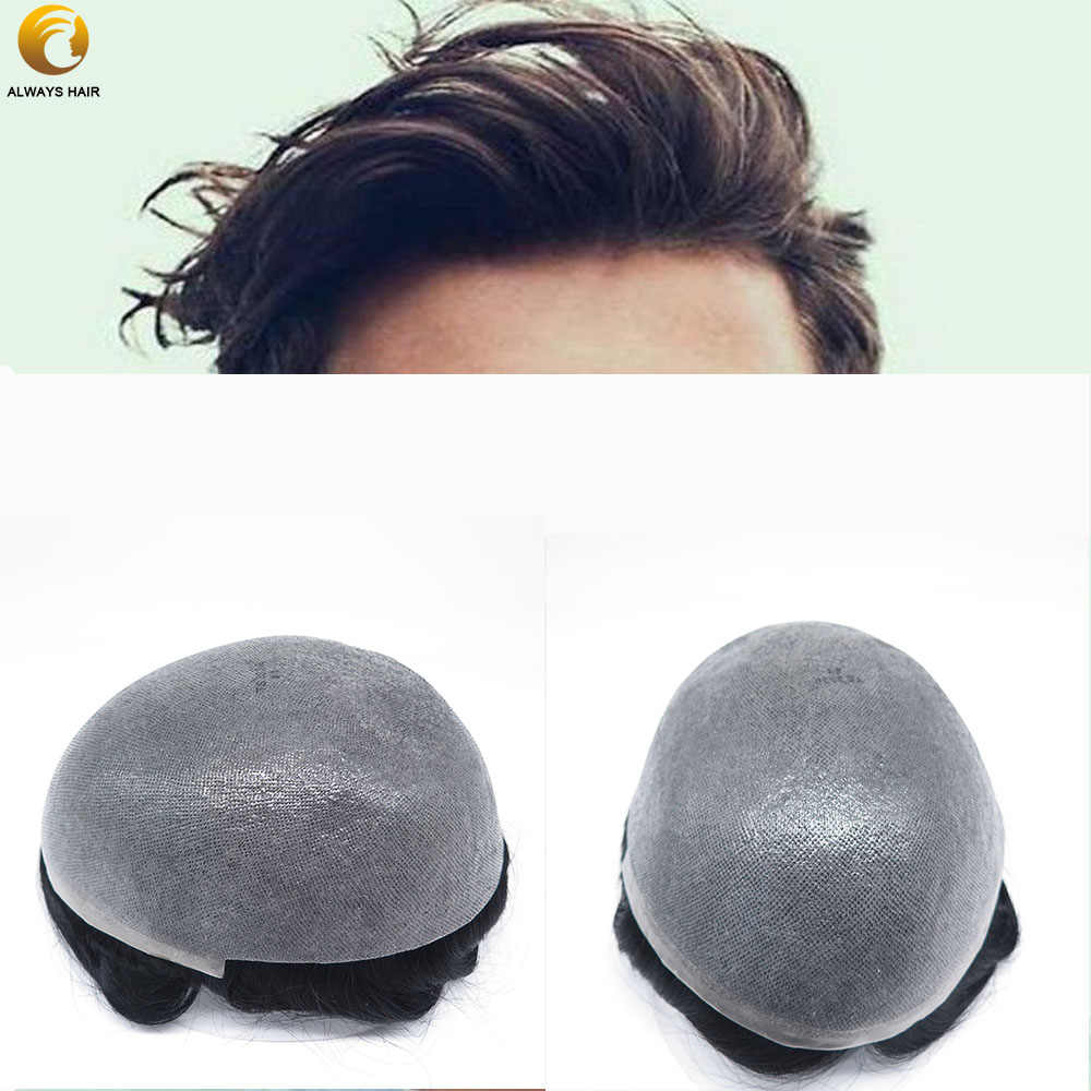 """Natural Hairline 0.08-0.1 mm Polyskin Thin Skin Toupee 6""""  Free Style Indian Human Hair System 120% 30 Wave Hair Unit Man"""