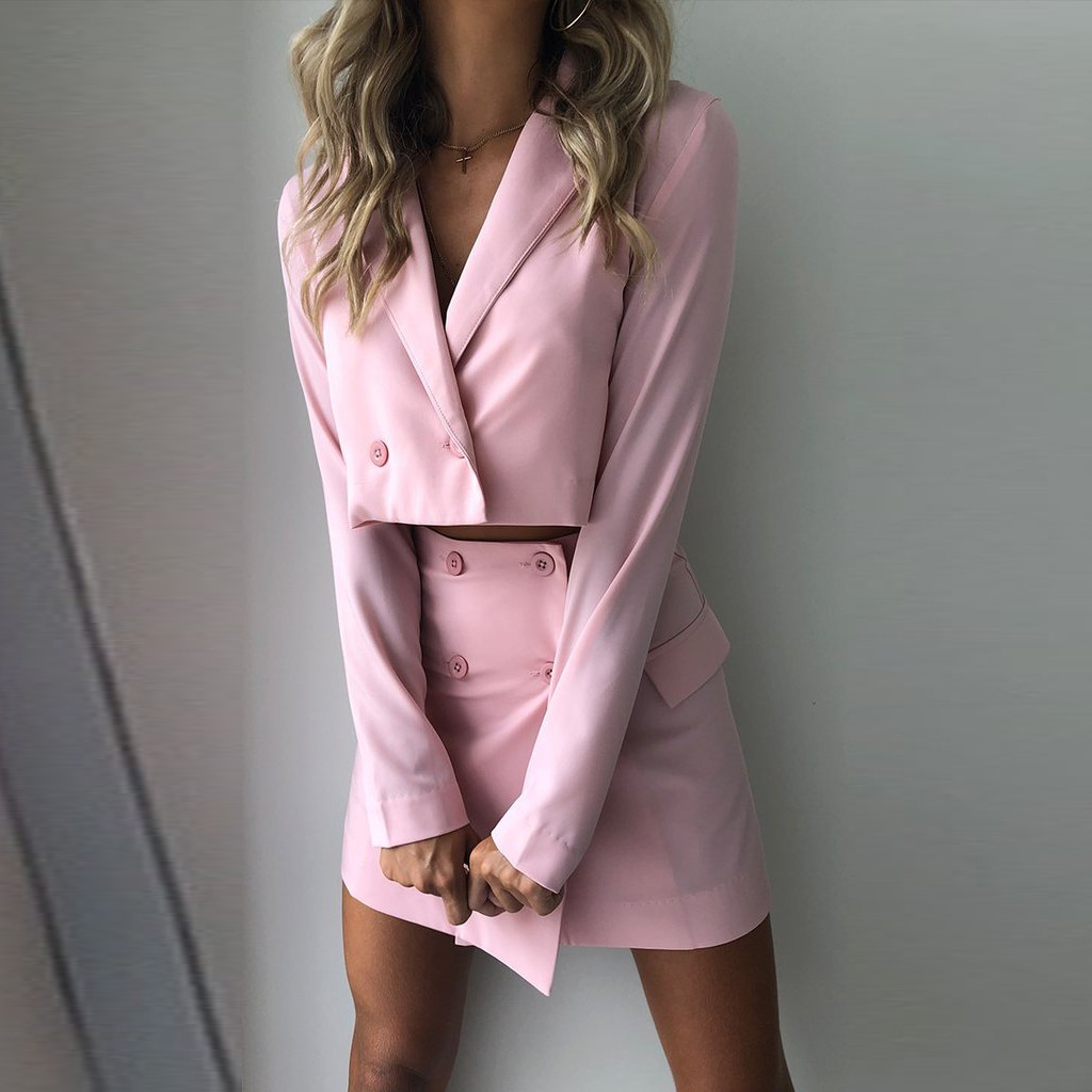 Women Two-piece Sets Blazer Suits Mini Dress Fashion Long Sleeve Double Breasted Blazers Dress Office Ladies Casual Outfits