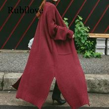 Rubilove Vintage Korean Long Cardigan Women 2019 Autumn Winter Coat Pockets Slit Long Sleeve Plus Size Thick Knitted Sweater pul недорого