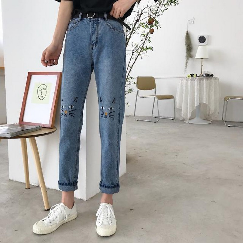 NiceMix Harajuku Denim Jeans Women Clothes Fashion 2020 Embroidery Cats Pants With Pockets Korean Casual Trousers Jean Femme