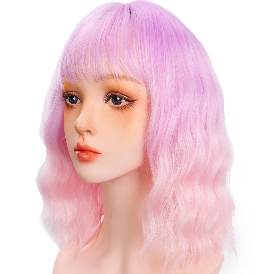 H2292a99f4b6945b19d6cc978d0dded4db - Short Water Wave Synthetic Hair Mixed Purple and pink Wigs Available Cosplay Wig For Women Heat Resistant Fiber Daily Bob Wig
