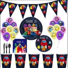 Entre nós tema festa descartável utensílios de mesa copo de papel guardanapo bolo bandeira feliz aniversário decoração favorito das crianças