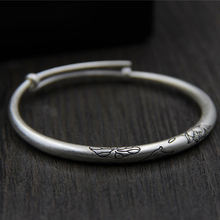 925 Sterling Silver Xiangyun Buddha Hand Lotus Solid Bracelet Childrens Carved Handicraft Push-pull Mouth Jewelry