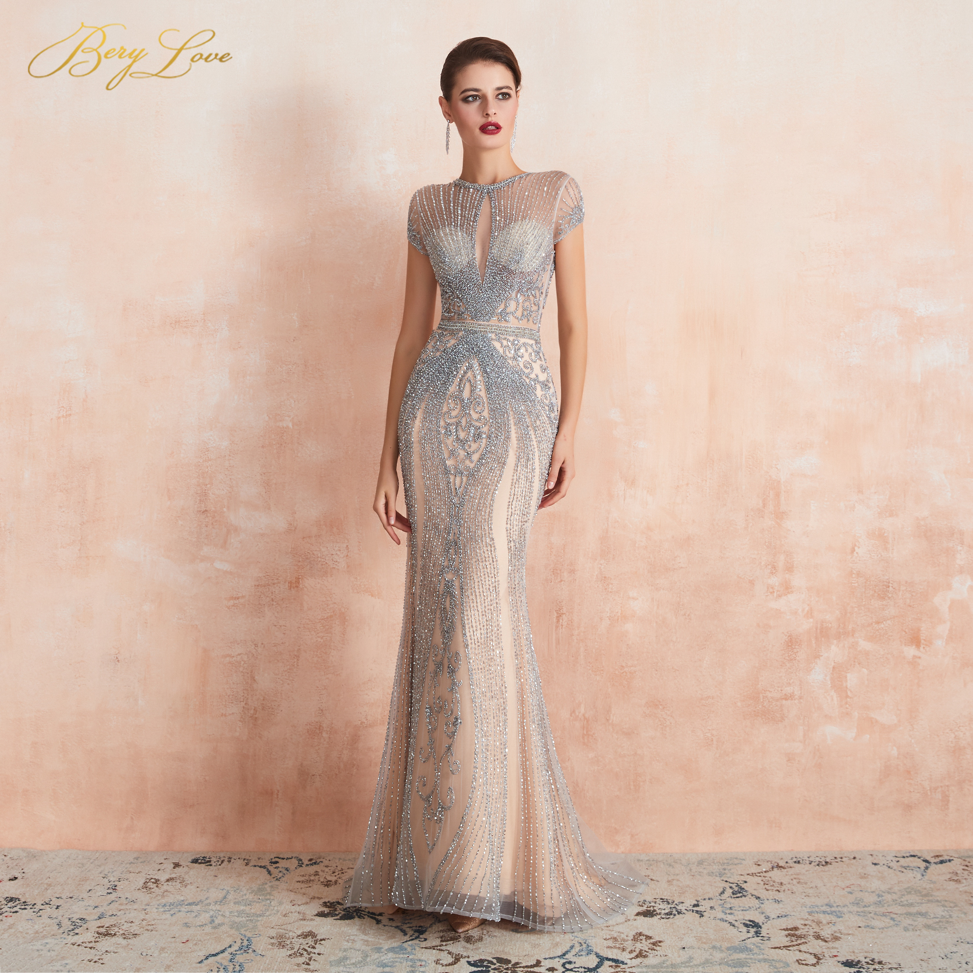 BeryLove 2019 luxe strass Nude sirène robe de soirée Cap manches longues soirée robes de reconstitution historique robe de soirée robe de soirée