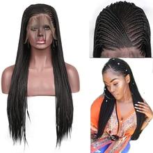 RONGDUOYI, 13x6, черные кружевные парики, высокотемпературные волоконные волосы, синтетические волосы на кружеве, парик, длинные плетеные косички, парики для женщин