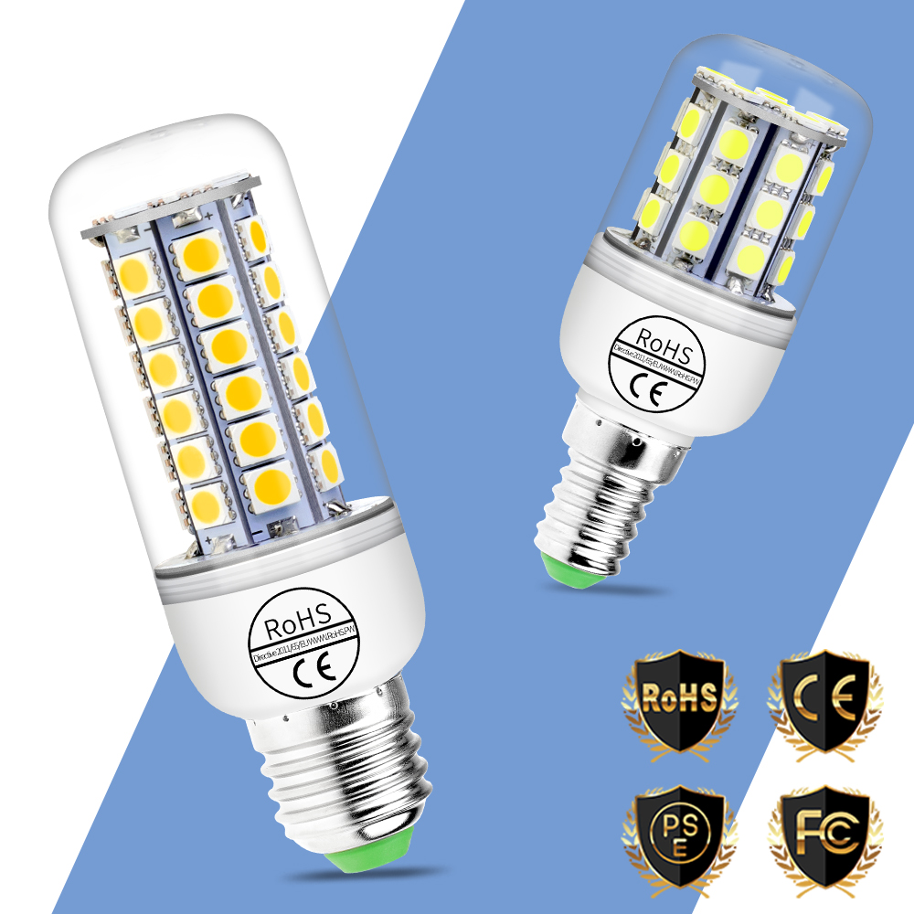 E27 Lampada LED Lamp 220V LED Corn Bulb E14 Light Bulb 24 27 30 36 59LEDs Bombilla Chandelier Lighting Candle Light SMD 5050