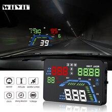 Nouveau Q7 5.5 pouces Auto voiture HUD GPS tête haute affichage universel compteurs de vitesse survitesse avertissement tableau de bord pare brise projecteur