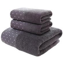 Набор из 3 предметов, мягкие хлопковые банные полотенца для взрослых, впитывающие махровые Роскошные ручные ванна, пляж, лицо, Женские базовые полотенца JWYYJ39