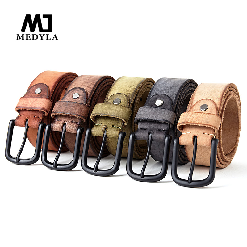 Medyla Natural Leather Men's Leather Belt Classic Pin Buckle Design Fashion Modern Youth Jeans Decorative High Quality New Belt