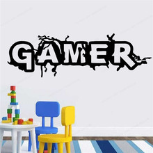 Gamer wall sticker vinyl kids room wall Decor gaming removable art mural Boys Bedroom decoration JH354 classic car wall sticker for boy bedroom decor kids room decoration vinyl roadster vinyl wall decor stickers mural poster