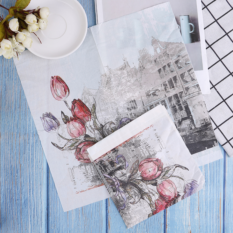 1Pack 33*33cm Rose Paper Napkins With Architecture Party Tissue Decoupage Napkins Decoration Serviettes