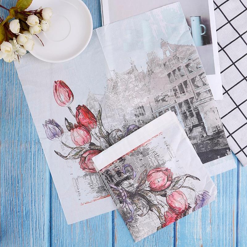 1Pack 33*33cm Rose Paper Napkins With Architecture Party Tissue Decoupage Napkins Decoration Serviettes