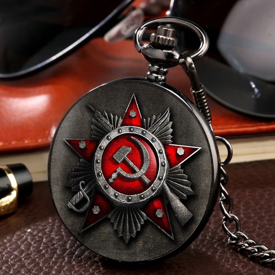 Antique The Russia Federation CCCP Soviet Sickle Hammer Case Design Watch Retro CCCP Russia Emblem Communism  Pocket Watch Chain