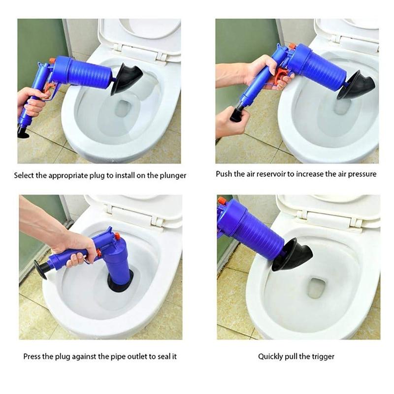 Pipe Dredger Air Power Drain Blaster Gun High Pressure Powerful Manual Sink Plunger Opener Cleaner Pump For Bath Bathroom Toilet