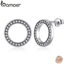 BAMOER Forever Clear CZ 925 Sterling Silver Circle Round Stud Earrings with CZ Jewelry GIFT Oorbellen Bijoux PAS437(China)