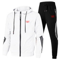 2020 spring and autumn custom LOGO men's two-piece striped sports hooded top + outdoor sports pants track suit men's suit