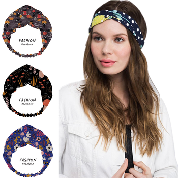 Fashion Women Summer Hair Accessories Hair Bands Enchanted Vintage Halloween Print Headbands Cross Bandanas Scrunchies HairBands image