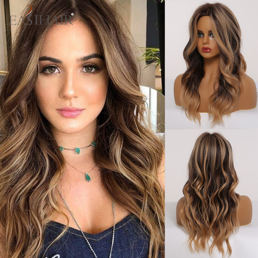 EASIHAIR Long Wavy Brown Wigs With Blonde Highlights Synthetic Wigs For Black Women Daily Cosplay Wigs Heat Resistant Hair Wigs