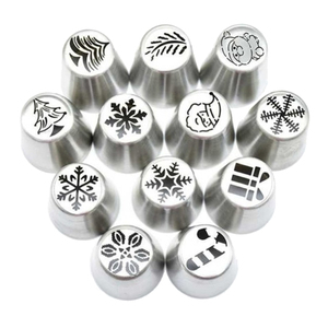 12 stück Russische Piping Tipps Weihnachten Kuchen Icing Zuckerguss Düsen für Cupcake Dekoration, Weihnachten Design