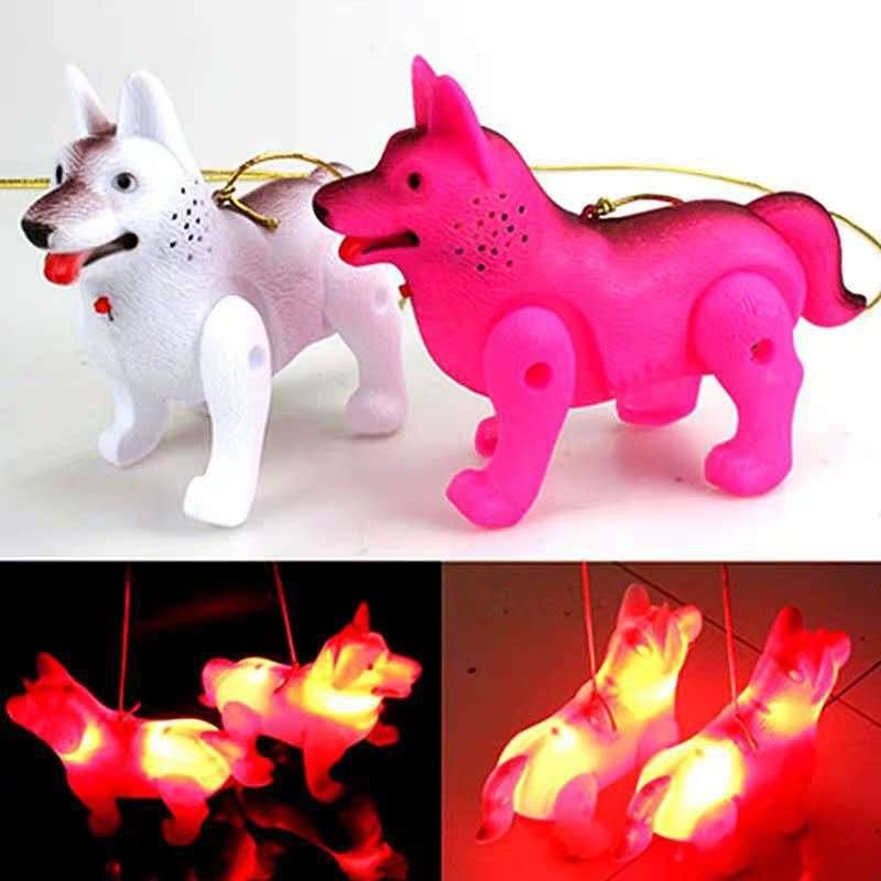 Leash Dogs Shining Music Electric Dog Pet Dog Doll With Rope Children Night Market Stall Toy