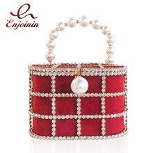Bolso calado de alta calidad con diseño de cesta para mujer, bolsa de mano femenina de lujo con diamantes y perlas, bolso de noche, bolso de moda de diseñador