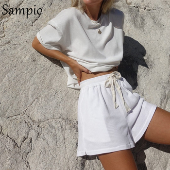 Sampic Summer Tracksuit Women Lounge Wear Shorts Set Short Sleeve Shirt Tops And Loose Mini Shorts Suit Two Piece Set 7