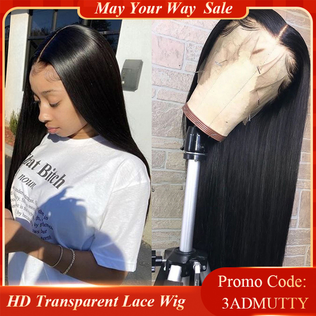 $ US $46.08 Straight Lace Front Human Hair Wigs Pre plucked HD Transparent Lace Wig With Baby Hair Brazilian Remy Lace Front Closure Wigs