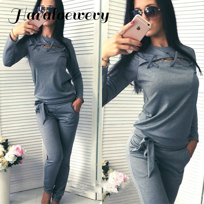 Women Spring Autumn Casual Solid Fitness Set 1PC Long Sleeve Hoody + 1PC Long Pants Women Tracksuit Sportswear 830265