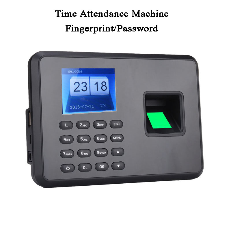 DC5V Standalone Office Employee Time Attendance Machine Fingerprint Code Password USB U Disk Excel Export Spanish, Japanese