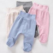 Newborn Unisex High Waist Baby Pants 0-6-24M Baby Cotton Trousers Infant Baby Boys Girls Bag Foot Pants Even Socks Baby Leggings