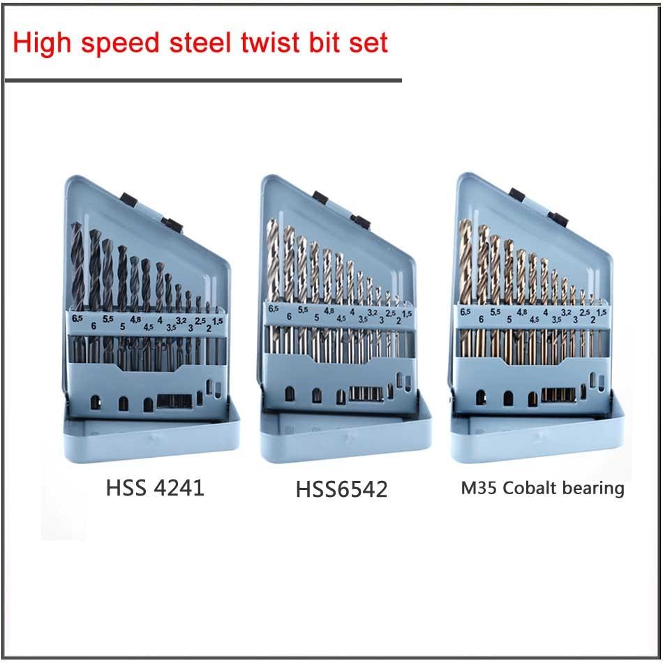 13Pcs/set  1.5-6.5mm W4541 W6542 M35 Cobalt High Speed Steel Titanium Plated Twist Drill Set,HSS Straight Shank Twist Drill