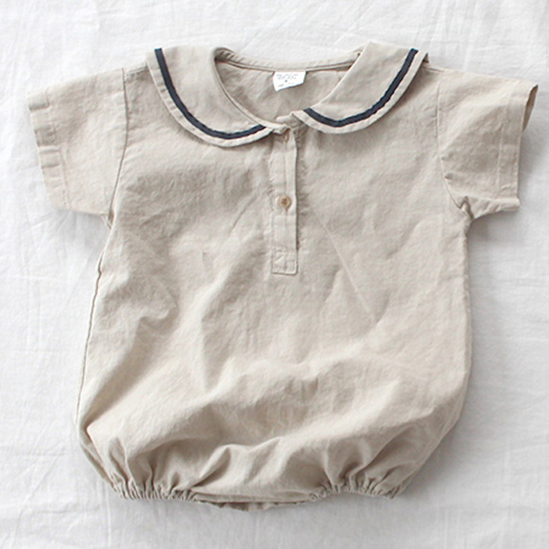 Korean Japan Style 2020 New Summer Navy Collar Toddler Girl Boys Romper Newborn Baby Jumpsuit Cotton Short Sleeve T-shirt Romper