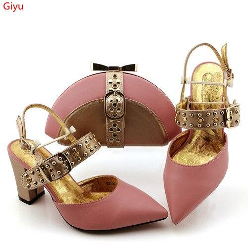 Doershow rose italien correspondant chaussures et sac ensemble africain mariage chaussure et sac ensemble italie chaussure et sac à main été ensemble femmes SJK1-1